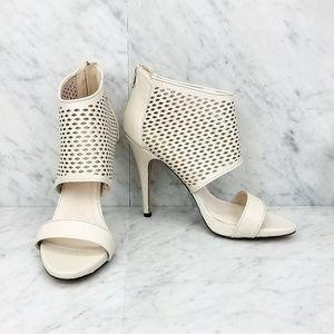 ALDO White Strappy Heeled Caged Sandals